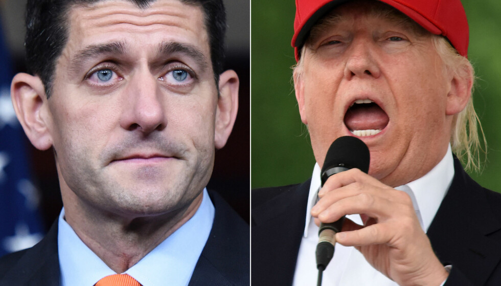 STØTTER OG MOTARBEIDER TRUMP: Paul Ryan (t.v) er Republikanernes mektigste folkevalgte, men er likevel ytterst ambivalent til Donald Trump.Foto: Xinhua/Yin Bogu.