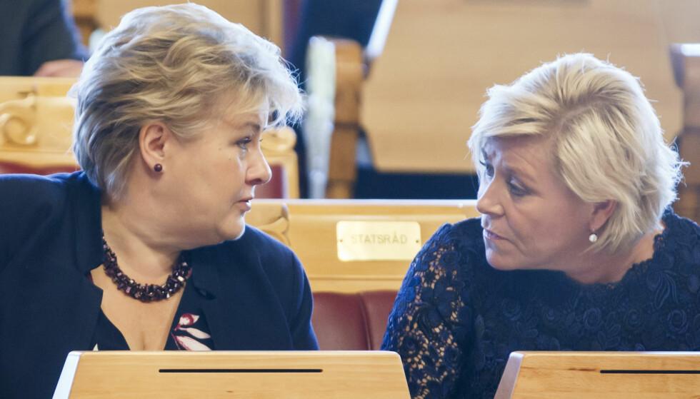 GÅR NED: Høyre faller 1 prosentpoeng fra septembermålingen til 21,7 prosent. Foto: Heiko Junge / NTB scanpix