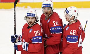NÅ STARTER EVENTYRET: Mats Zuccarello og Andreas Martinsens NHL-eventyr starter i disse dager. Her med Mathis Olimb VM i Russland tidligere i år. Foto: Berit Roald / NTB scanpix