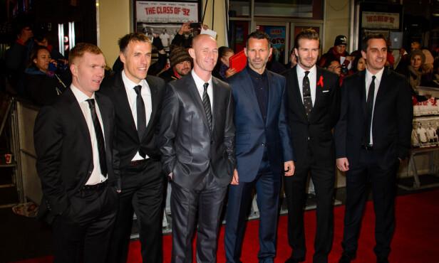 CLASS OF 92: Paul Scholes, Phil Neville, Nicky Butt, Ryan Giggs, David Beckham og Gary Neville fra 2013. Foto: WENN.com