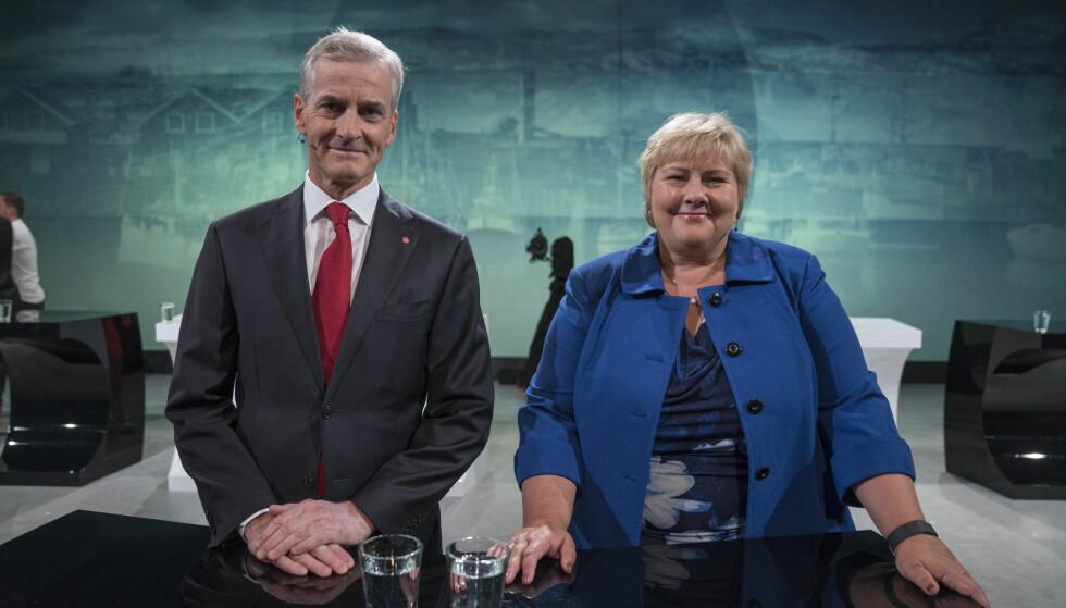 ER PÅ ARENDALSUKA: Jonas Gahr Støre (Ap) og Erna Solberg (H) møttes til partilederdebatt under Arendalsuka 2016. Foto: Øistein Norum Monsen / Dagbladet