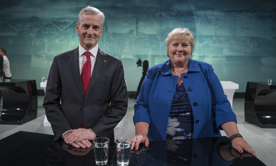 <strong>RIVALER:</strong> Jonas Gahr Støre og Erna Solberg kjemper om samme ministerpost, men har helt ulik formue og inntekt. Foto: Øistein Norum Monsen / Dagbladet