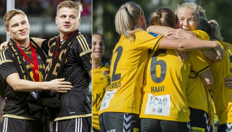 KONTRASTER: Begge klubbene tok seriegull i 2015, men forskjellene på inntektene er enorme. Foto: Ned Alley / Fredrik Varfjell / NTB Scanpix