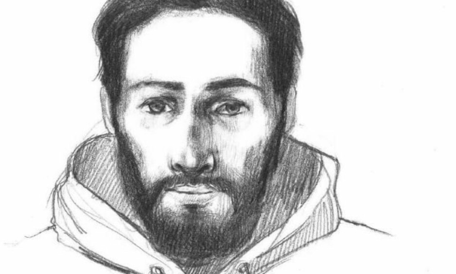 ETTERLYST: Den etterlyste voldtektsmannen ser slik ut, ifølge den fornærmede kvinnen og politiet. Illustrasjon: Politiet
