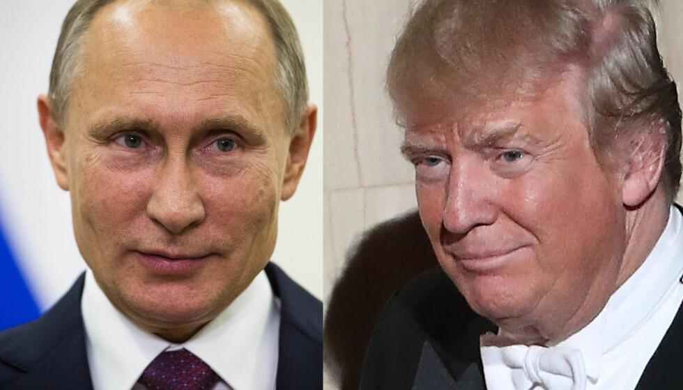 SNAKKET SAMMEN: Vladimir Putin og Donald Trump. Foto: NTB/Scanpix