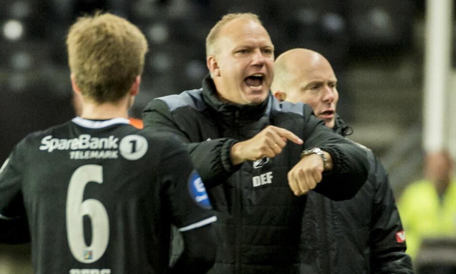 TRIUMF I TRONDHEIM: Odd-trener Dag-Eilev Fagermo var høyt oppe etter seieren over Rosenborg søndag. Foto: Ned Alley / NTB Scanpix