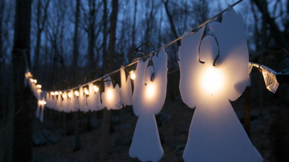 EN MÅNED SIDEN: Lysende engler er hengt opp fra et tre i Connecticut, til minne om alle dem som ble drept i skolemassakren i Newtown 14. desember i fjor. Foto: REUTERS/Michelle McLoughlin