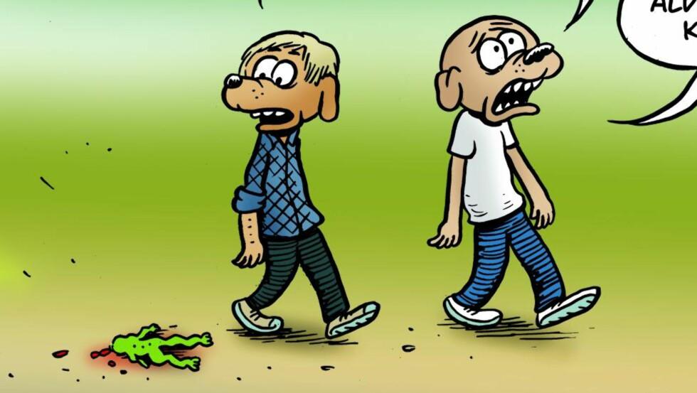 ROCKY: Utsnitt fra tegneserien om livsnyteren og slackeren Rocky. Tegning: Martin Kellerenman