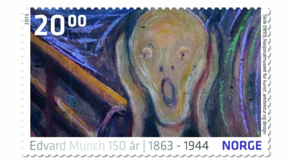 BLIR FRIMERKE: Edvard Munchs «Skrik» og andre kjente malerier fra den store kunstneren blir å se på frimerker fra Posten.   Foto: NTB Scanpix