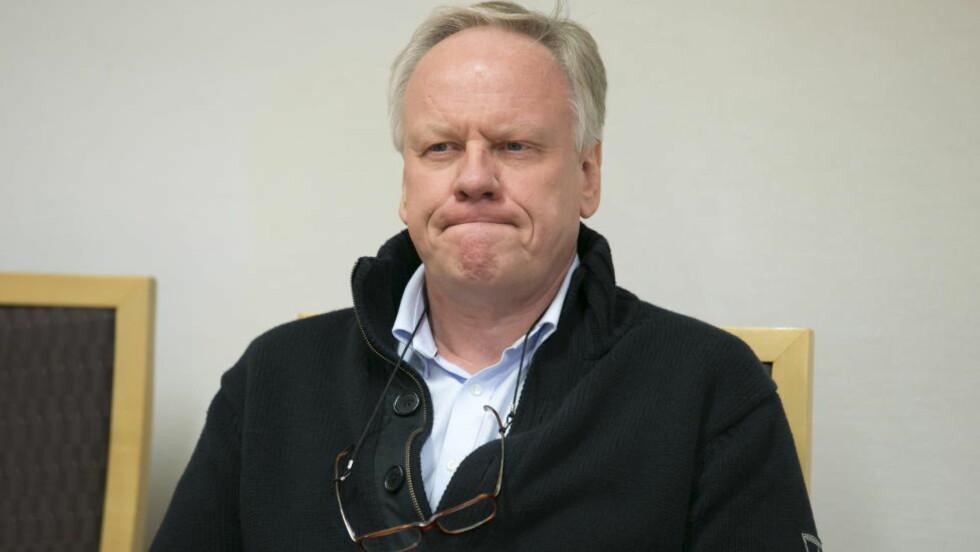 MISTET BEVILLINGEN:  Bistandsadvokat i 22. juli-saken, Sigurd Jørgen Klomsæt, fikk ikke medhold på noen av punktene i saken mot Advokatbevillingsnemden. Dermed får han ikke bevillingen tilbake. Her er han avbildet i straffesaken i Oslo tingrett mandag morgen, der Klomsæt er tiltalt for grov uforstand i tjenesten. Foto: Heiko Junge / NTB scanpix