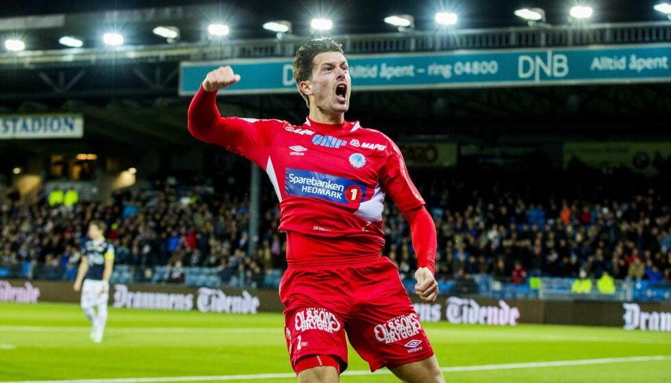 JUBLET: Kongsvinger-back Fredrik Pålerud var med på å sende hedmarkingene til klubbens første cupfinale. Foto: Vegard Wivestad Grøtt / NTB scanpix