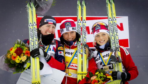 INGEN BRUDD: Justyna Kowalczyk fikk fortsette på Fischer-ski etter at hennes dopingdom var ferdigsonet. Det samme får Therese Johaug - uavhengig av eventuell dom. Foto: Kyrre Lien / Scanpix .
