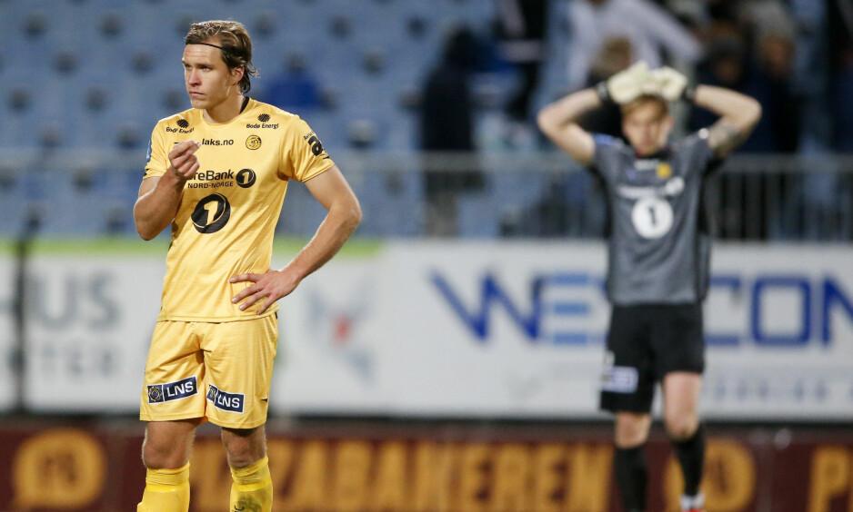 TUNG TID: Martin Bjørnbak og Bodø/Glimts keeper Sergey Pogorelyi etter enda et poengtap. Foto: Jan Kåre Ness / NTB scanpix