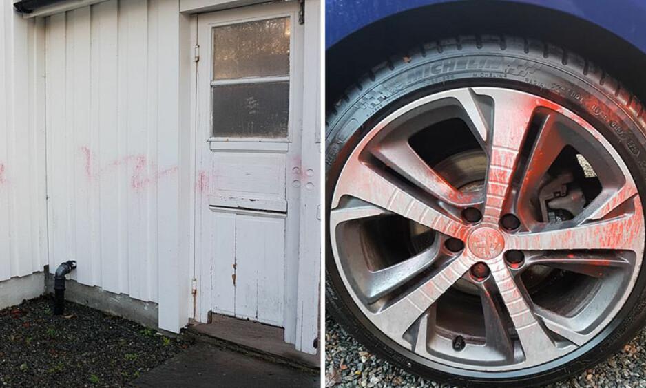 GÅR IKKE BORT: I dag har Irina Jentoft Rusten, som egentlig er syk, prøvd å skrubbe bort malingen, uten hell. Foto: Privat.
