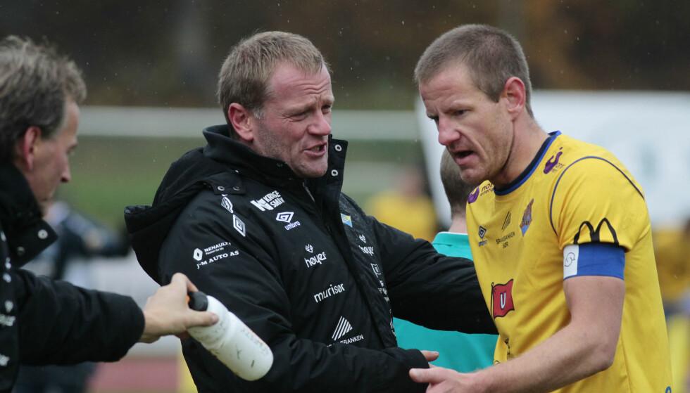 LEDET 1-0: Arne Sandstø (i midten) og Jerv slåss om opprykk. Dette bildet er fra en tidligere anledning. Foto: Tor Erik Schrøder / NTB scanpix