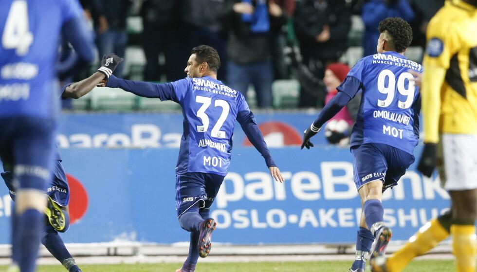 DRØMMESCORING: Alanzinho jubler etter at han scoret et vakkert mål på innbytterens første touch i kampen. Foto: Terje Pedersen / NTB scanpix