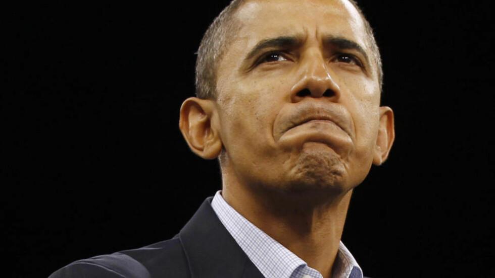 STORMER IKKE AKKURAT FRAM : President Barack Obama vil høyst sannsynlig miste flertallsstøtten fra demoratiske partifeller i Representantenes hus etter nattens Kongressvalg i USA. Foto: Larry Downing/REUTERS.