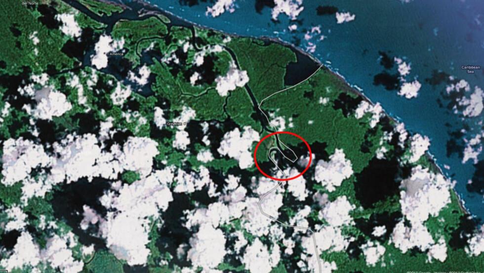 GRENSETVIST: Nicaragua gikk inn i dette området og hevet sitt eget flagg etter en feil i Google. Teknologigiganten skriver nå på sin blogg at de retter opp feilen. Foto: Google maps