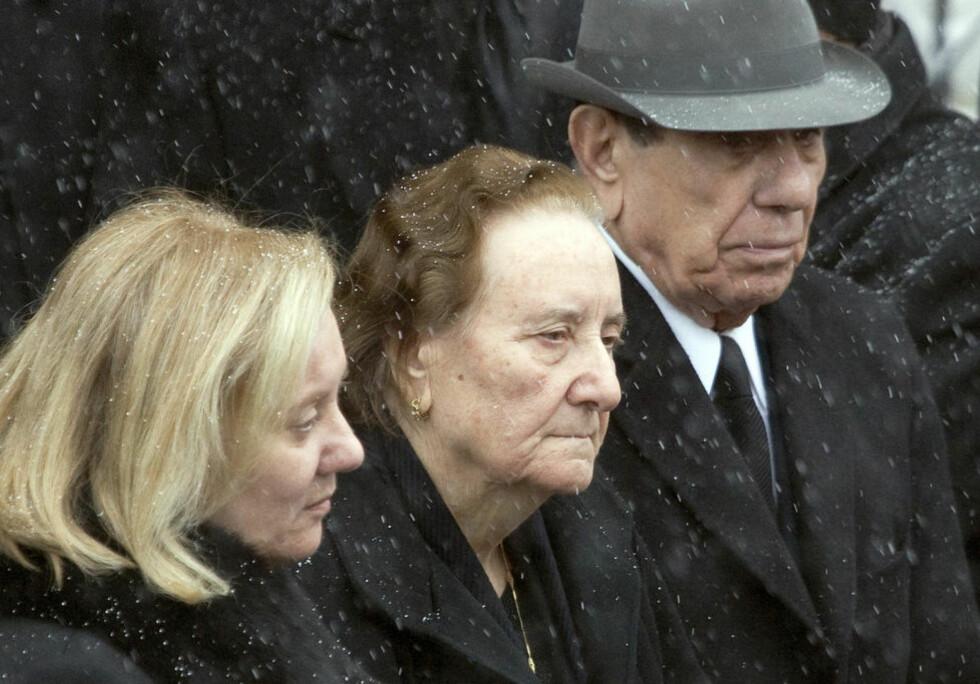 GUDFAR: Nick Rizzuto (86) var Rizzuto-familiens overhode og gudfar. Nå er han, i likhet av en rekke andre medlemmer av klanen, likvidert. Her fra barnebarnet Nick jr.s begravelse i januar i år. Foto: Christinne Muschi/Reuters/Scanpix