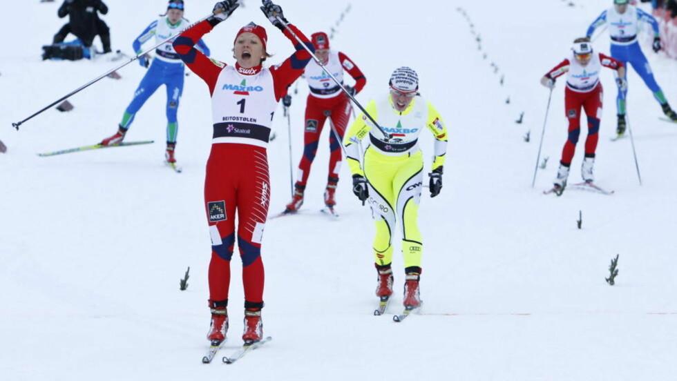 VANT SPRINTÅPNINGEN: Maiken Caspersen Falla vant sprinten på Beitostølen lørdag. Foto: Håkon Mosvold Larsen / Scanpix