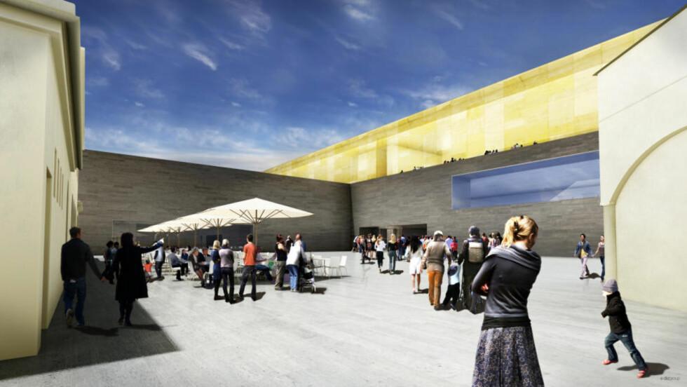 NYE NASJONAL: Slik vil det nye Nasjonalmuseet bli, om vinneren av Statsbyggs arkitektkonkurranse blir realisert. Tegning: Forum Artis