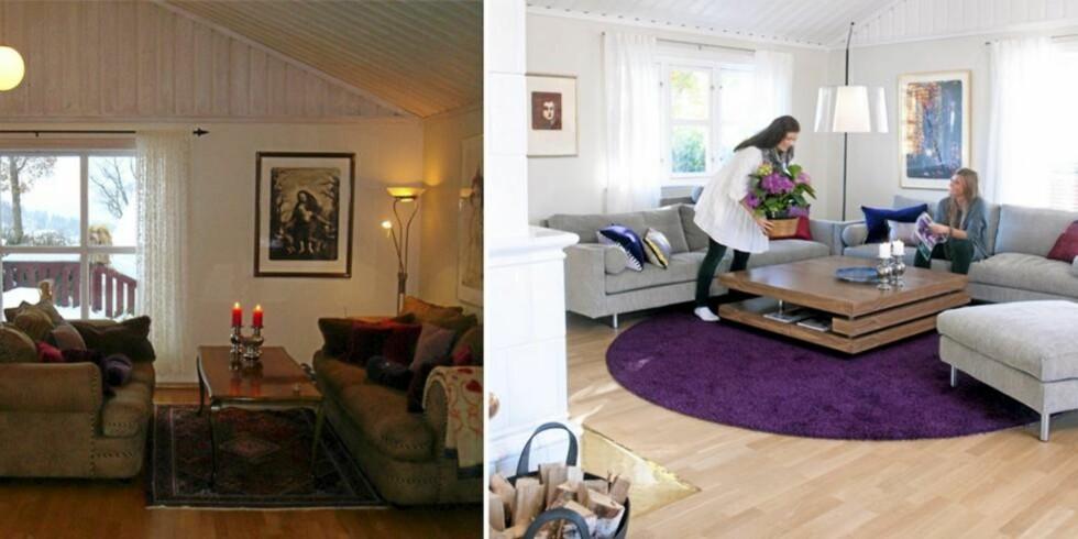 KUL KONTRAST: Med farger og nye møbler ble salongen husets populære blikkkfang og samlingssted.  FOTO: Privat/Espen Grønli