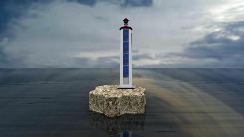 NYE FYRLYKTER: De er sju meter høye, er sjukantede og drives av batterier og solceller. Består de testene i ekstreme værforhold kan 2000 slike lykter dukke opp langs kysten.  Illustrasjonsfoto: KYSTVERKET