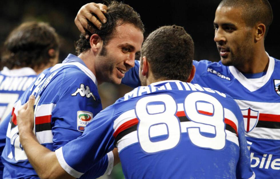 STOPPET MILAN: Gianpaolo Pazzini (t.v.) sørget for poengdeling mellom Sampdoria og Milan.Foto: SCANPIX/REUTERS/Giampiero Sposito