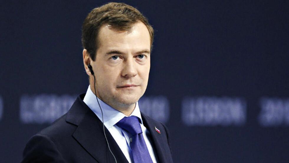 MAFIABOSS? : Ifølge Wikileaks-dokumenter skal en spansk statsadvokat ha kalt Russland en mafiastat. Her er Russlands president Dmitrij Medvedjev. (AP Photo/Armando Franca)