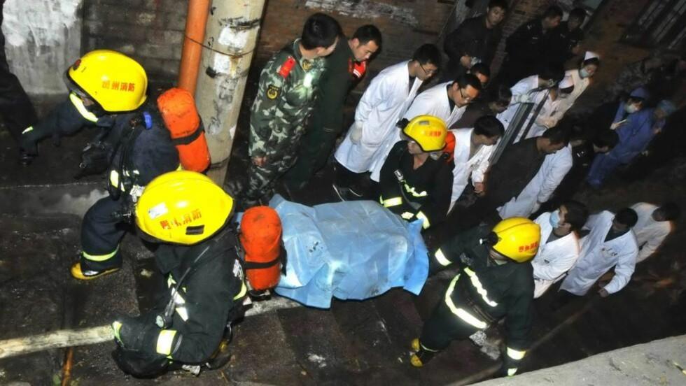 EKSPODERT: Seks mennesker mistet livet i eksplosjonen i den kinesiske byen Kaili. Foto: EPA/LIU DI