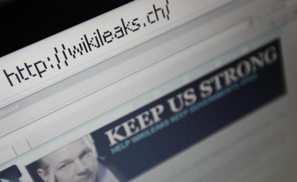 BER OM HJELP: Skjermbildet av en nettleser viser WikiLeaks'' nye nettadresse med et portrett av grunnleggeren Julian Assange. Foto: Reuters/Pascal Lauener/Scanpix