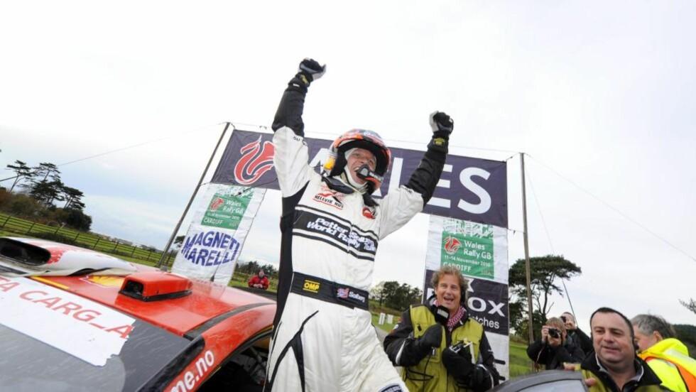 AVSLUTTET PÅ PALLEN: Petter Solberg havnet på tredjeplass i Rally-VM etter sterk innsats i Rally Wales. Foto: EPA
