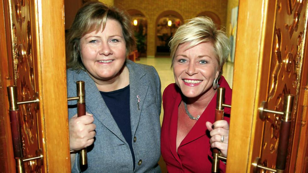 SAMMEN? Kommer Siv Jensen (Frp) og Erna Solberg (H) til å stå sammen med neste valg? Foto:Jacques Hvistendahl/Dagbladet