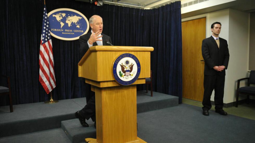 PRESSENS MANN : Pressetalsmann Philip Crowley i Det amerikanske utenriksdepartementet  synes det er noe ironisk at USA nå annonserer at de skal arrangere Verdens pressefrihetsdag neste år. Arkivfoto: Mandel NGAN/AFP.
