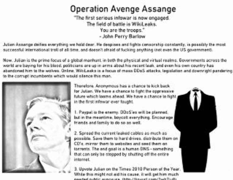 HEVNAKSJON: - Den første seriøse infokrigen er i gang. Slagmarken er Wikileaks. Dere er soldatene. (Faksimile)