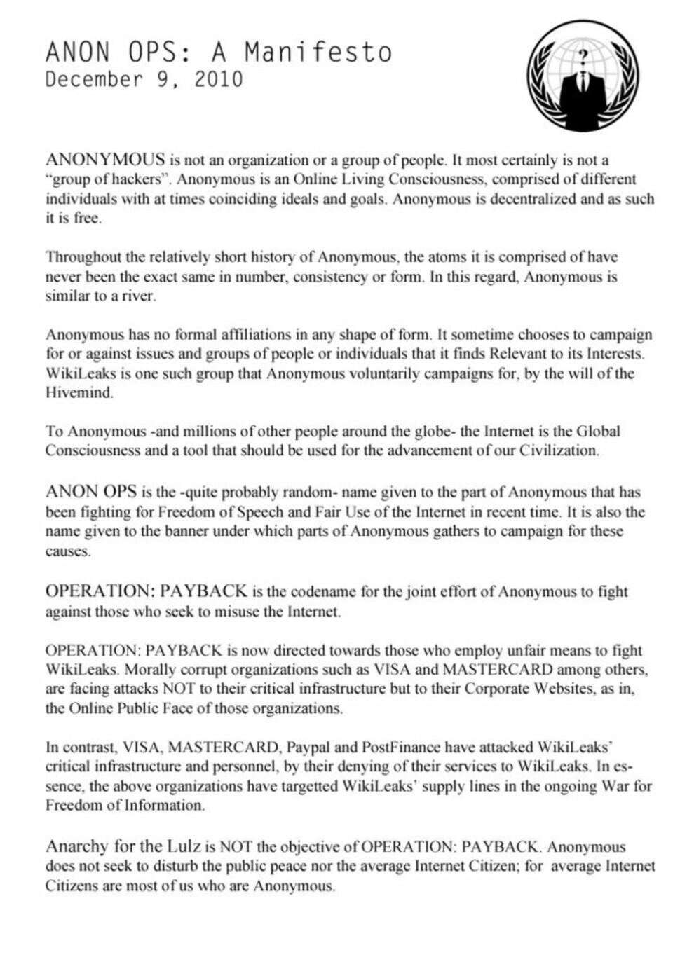 MANIFEST: Her er hackergruppas manifest. (Faksimile)