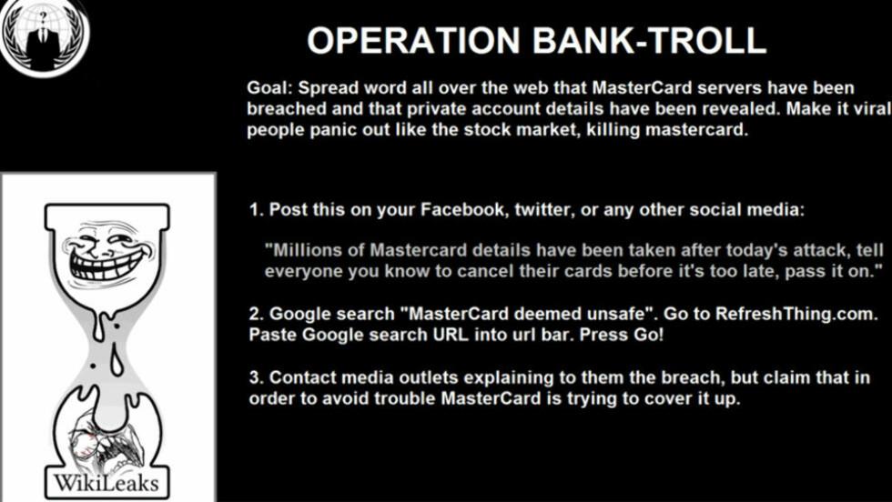 CYBER-KRIG: Her er beskjeden hackergruppa Anonymous sprer på nettet for å få folk til å spre rykter om sikkerhetsfeil hos Mastercard. (Faksimile)