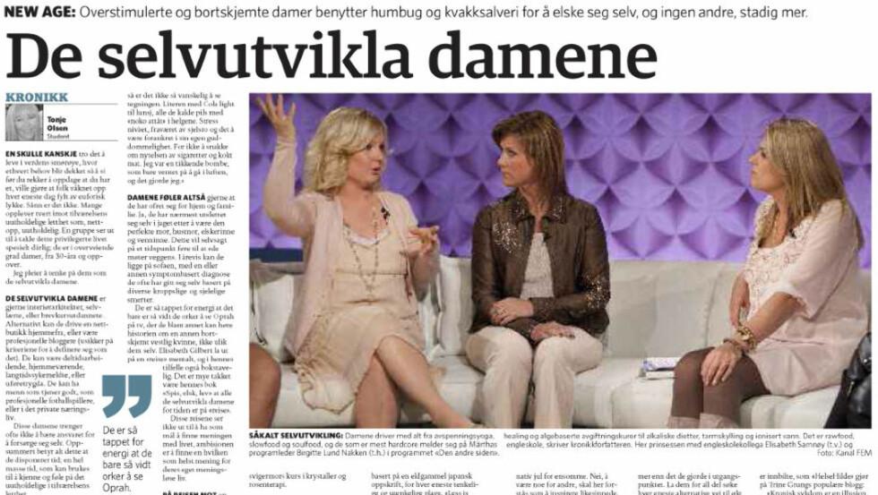 SVARER PÅ KRITIKKEN: Mitt hovedbudskap er mine egne erfaringer, skriver «HelseHilde». Faksimile Dagbladet 8. desember