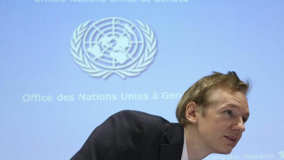 TALTE FOR FN I NOVEMBER: Men nå er snart Julian Assange siktet for spionasje av USA, ifølge hans advokat. Foto: EPA/Scanpix