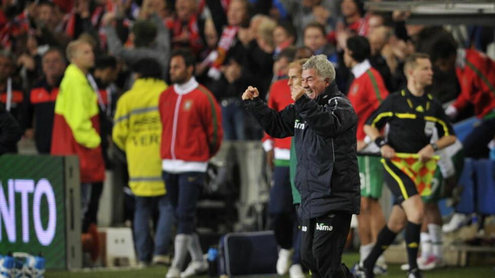 JUBELGARANTISTEN: Egil Drillo Olsen har i 2010 løftet Norges landslag foran flere andre store fotballnasjoner på FIFA-rankingen, takket være seirer som den mot Portugal på Ullevaal i september. Da kommer folkets entusiasme tilbake også. Foto: Hans Arne Vedlog
