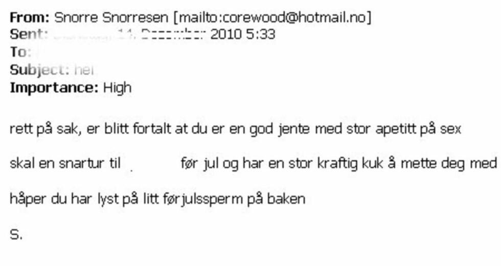 FORSKREKKET: Kvinnen ble ikke lite forskrekket da denne e-posten dukket opp i pc-en hennes. Og forskrekkelsen ble ikke mindre da hun oppdaget at avsenderen befant seg i det norske Utenriksdepartementet.