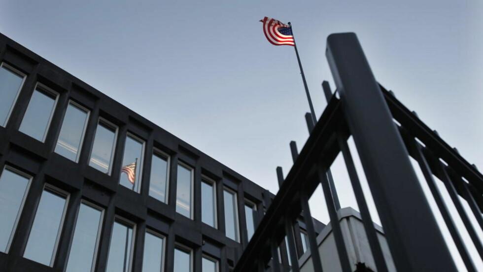 OVERVÅKET: SDU-enheten ved Den amerikanske ambassaden i Oslo har flere ganger avslørt overvåking og mistenkelig aktivitet utenfor bygningen. I 2002 tok iranske diplomater bilder. Politiet ble tilkalt. Foto: ERLING HÆGELAND/Dagbladet