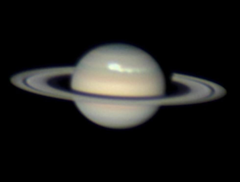 SETT FRA JORDA: Den australske amatørastronomen Anthony Wesley, godt kjent for sine mange dagsordensettende planetbilder, tok dette bildet av en stormfull Saturn tidligere i desember. Hele fem jordkloder kan få plass side om side i uværet som herjer den nordlige halvkulen. Foto: ANTHONY WESLEY