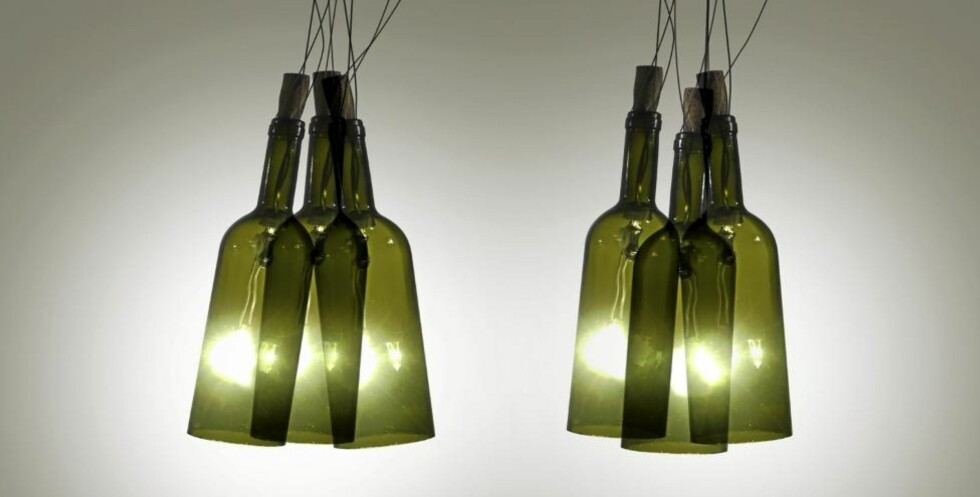 b>HENGELAMPE: Seks flasker blir to hengelamper over spisebordet. (bildet er manipulert). Foto: Øivind Lie