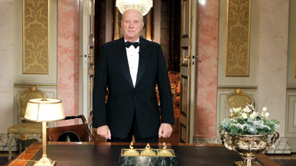 HOLDT DEN ÅRLIGE NYTTÅRSTALEN: Kong Harald. Foto: CORNELIUS POPPE/SCANPIX