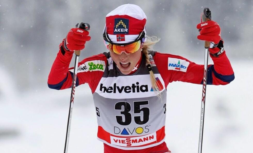4. Plass: Therese Johaug kom på en 4. plass i Oberhof. Foto: EPA/ARNO BALZARINI