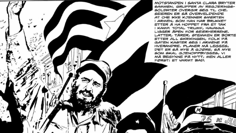 SEIER: Che Guevara og Fidel Castro inntar Havanna, formidlet som dokumentarisk historiefortelling av Alberto Breccia.