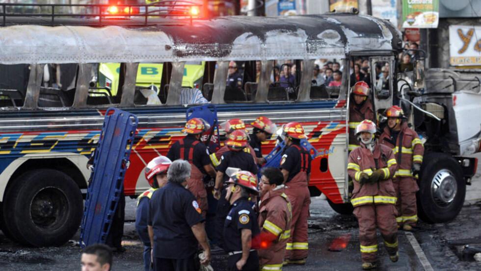 LIVSFARLIG KOLLEKTIVTRANSPORT: 150 bussjåfører eller konduktører ble drept i Guatemala i fjor, ifølge menneskerettsgrupper. Foto: WALTER PEÑA/AFP/SCANPIX