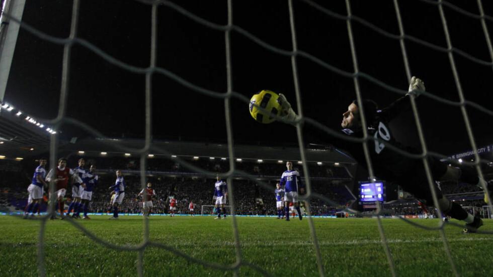 VANT LØRDAG: Her fyker Robin Van Persies skudd inn i Birmingham-målet. Arsenal trenger en ny seier i morgen kveld. Foto: REUTERS/Eddie Keogh