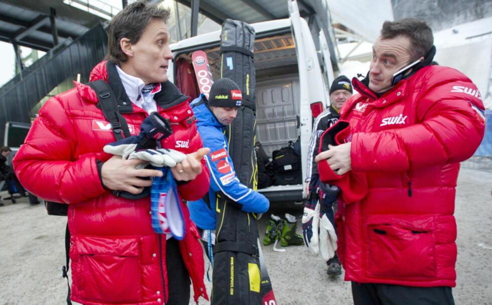 LITE HODEBRY: Landslagstrener Mika Konjonkoski og sportssjef Clas Brede Bråthen har mer eller mindre bestemt seg for VM-laget. Foto: Thomas Rasmus Skaug / Dagbladet